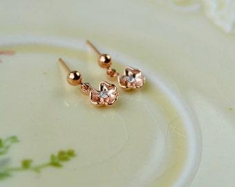 Tiny Rose Gold Earrings, Stud Earrings, Tiny Flowers Jewellery, Delicate Stud Dangle Earrings, Dainty Drop Earrings, Mothers Day Gift Wife