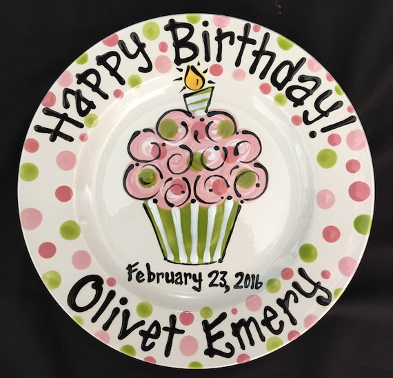 sc 1 st  Etsy & Personalized Birthday Plate Hand Painted Birthday Plate