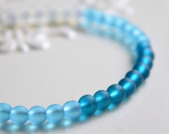 Frosted Glass Bracelet, Beaded Jewelry, Matte White Aqua Teal Blue Beads, Sterling Silver, Summer, Ombre