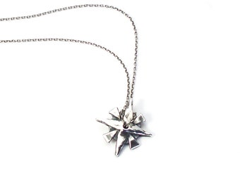 Silver Compass Necklace, Silver Compass Charm, Star Charm, Compass Charm, North Star Pendant, Silver Compass Pendant, Recycled Silver