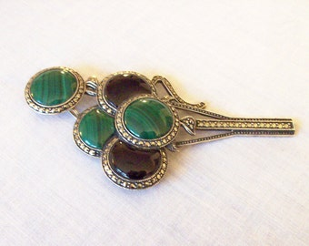 JUDITH JACK Brooch Sterling silver balloons and marquesite pin onyx malachite