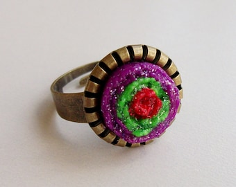 Mexican Flower Festive Ring, Colorful Southwestern Fiesta Ring
