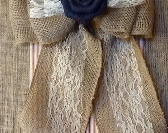 """12"""" Wide Burlap Lace Flower Pew Bow Chair """"You Customize Flower Color"""" Reception Wedding Venue Rustic Cottage Chic Primitive"""