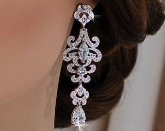 Swarovski Earrings Wedding Zirconium CZ Crystal Party Dangle Chandelier Pageant Bride Bridal Weddings Jewelry Vintage Brides Gift Zircon 053