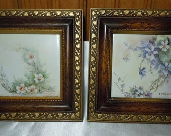 Pair of Framed Vintage Painted Porcelain Tiles, floral tiles, hand painted, signed, violets, apple blossoms, gold frames, miniatures