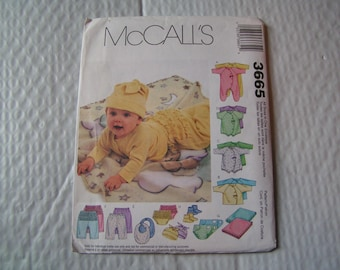 McCalls Pattern 3665 Infants Coveralls Top Bodysuit Pants Diaper cover Blanket Booties Bib Hat