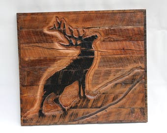 Carved Relief of a Deer on Reclaimed Barn Wood - Reclaimed Wood Wall Art - Barn Wood Wall Art - Southwestern Decor - Rustic Decor
