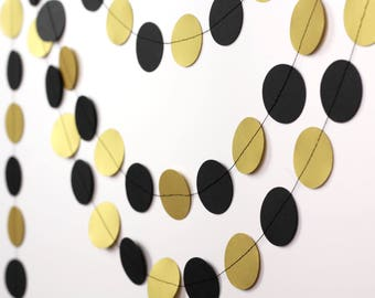 Black and Gold Garland - Shimmery Gold and Black Garland - Graduation Party Decorations - Grad Party Decor