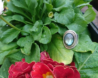 Mounted on silver Labradorite ring