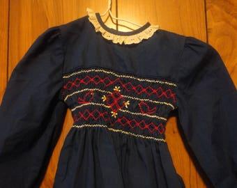 Vintage, Polly Flinders, Smocked Dress, Solid Blue Dress, Winter dress, Formal wear, Long Sleeves, Size 4, PolyCotton Fabric, Dress-up