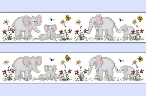 Elefant WALLPAPER BORDER Aufkleber Dschungel Safari Tiere