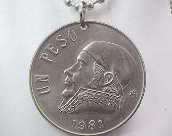 Coin Necklace, Mexican 1 Peso, Coin Pendant, Ball Chain, Men's Necklace, Women's Necklace, 1981