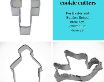 """mini Easter cookie cutter set of 3, Vacation bible school, 1.5"""" dove cookie cutter 1.6"""" church cookie cutter, MINI 1.75"""" cross cookie cutter"""