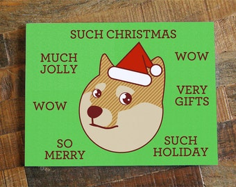 "Funny Christmas Card, Doge ""Such Christmas"" - Funny Holiday card, Cute Shiba Inu Card, Shibe Doge, Geek Card, Nerd Card, pop culture card"
