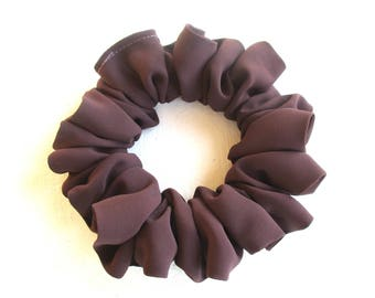 pale brown scrunchie for long thick hair, silk dance accessory for women girl, handmade gift for her, large hair tie, 80s 90s festival