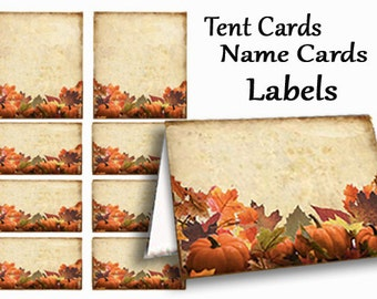 Thanksgiving Name Tags, Fall Place Cards, Thanksgiving Table Cards, Buffet Table Cards, Tent Cards, Dessert Buffet, orange pumpkin, party