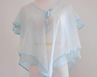 Vintage sheer pale blue ruffly bed jacket - Diane Von Furstenberg