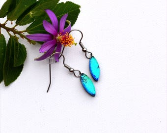177 Small dichroic fused glass earrings wedge shape in light blue