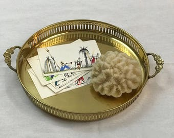For a Hostess or Host Gift: Brass Vintage Regency Tray - Camino Collective