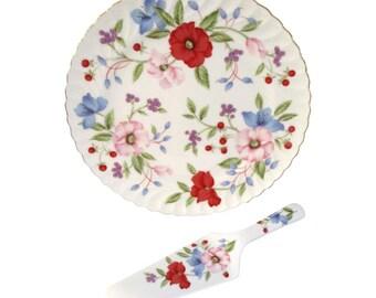 Porcelain Floral Cake Platter w/ Server, Pair