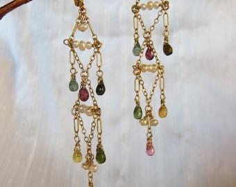 Rainbow Tourmaline 14K Gold Filled Handmade Chandelier  Earrings