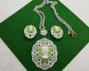 Cameo set Green Art Glass with Rhinestones Enamel Made in West Germany Pendant and clip earrings