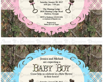 Image of camouflage baby boy shower invitations deer hunter camo camo baby shower invitation camo baby boy camo baby shower filmwisefo