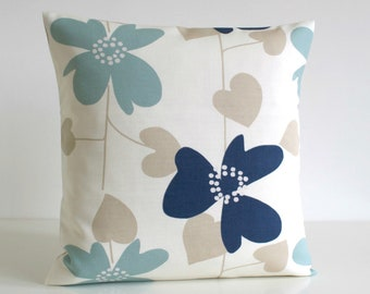 Blue Pillow Cover, Accent Pillow, Cushion Cover, Sofa Pillow, Decorative Pillow Cover, Scatter Cushion, Slip - Nordic Bloom Blue