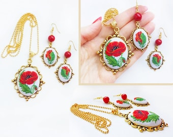 Micro embroidery set Red flower of Necklace and Earrings,Hand Embroidery,Gift for women,Valentine's day, embroidered  jewelry