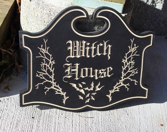 Witch House Sign | Wooden Carved Witchcraft Wicca Wiccan Gothic Home Decor Pagan Bats Salem Occult Halloween Decoration