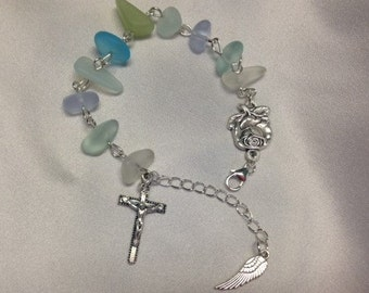 Cultured glass Rosary decade bracelet, first communion gift, confirmation gift, sea glass, beach glass, religious gift, godparent
