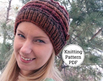 KNIT HAT PATTERN - Knitting Pattern - Knit Pattern - Beanie Pattern - Womens Knit Hat - Jennifer Hat Pattern
