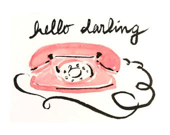 Hello Darling Fashion Illustration Art Print
