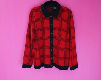 90s Red and Black Plaid Flannel Button Down Blouse