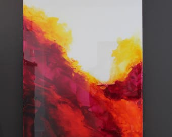Bright Colorful Magenta Red Orange Yellow Abstract Epoxy Resin Painting II