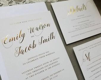 Gold foil sample set, gold foil details card, gold foil wedding invite, gold foil RSVP, simple elegant invitation, gold foil set