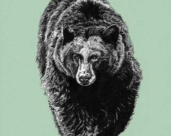 Black Bear Mint Green Print