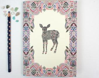 A5 Plain Notebook - Botanist Deer
