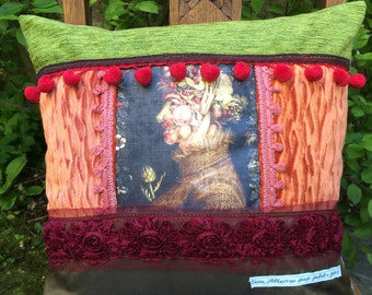Baroque decorative pillow, velvet, fabrics various trims and tassels 'Fruit'