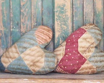 2 Rustic Heart Pillows, Antique Quilt, Farmhouse Style, Primitive Heart Pillows, Mothers Day Gift, Blue White Claret - READY TO SHIP