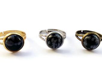 Round Snowflake Obsidian Cameo Ring Adjustable, Vintage Gold Jewelry, Kitsch, Vintage, OOAK, Gemstone Jewelry
