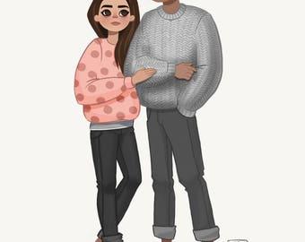 Custom cartoon portrait from photo, unique gift, personalized cartoon, couple portrait - digital file
