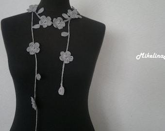Crochet Necklace,Crochet Neck Accessory, Flower Necklace, Grey, 100% Cotton.