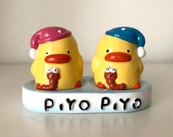 Vintage Ceramic yellow duckling Figurines Pepper shaker & salt shaker