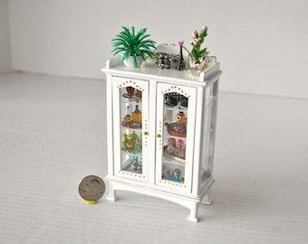 Dollhouse Miniatures Artisan Made Perfume Bottle Jewelry Display Cabinet with 7 Miniature Dollhouse Perfume Vanity Toiletry Sets 1:12 Scale