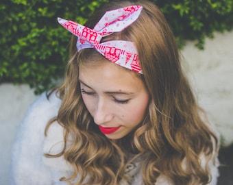 Santa's Grotto Christmas Wire Headband, Christmas Dolly Bow