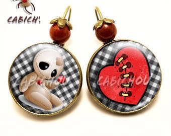 "Autumn earrings ""voodoo"". Halloween.  In shades of red glass cabochons. Women gift"