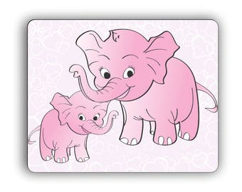 Cute Elephants Pink Computer Mouse Pad