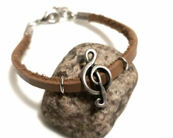 SALE Jewelry Treble Clef Jewelry Leather Bracelet Music Jewelry Musician Gift Trending FLASH Sale