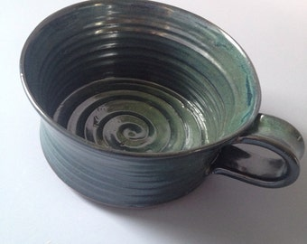Stoneware soup cup in Pete's Dragon Green